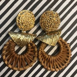 NWOT Boho Rattan Wicker Woven Dangly Post Earrings